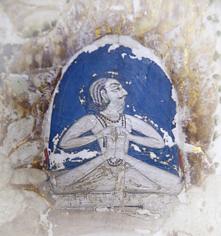 Mural in the natha maha mandir depicting sitting yoga pose.