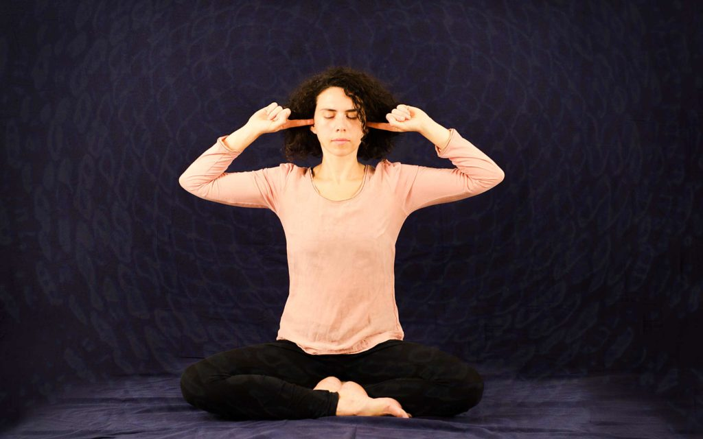 Bhramarai pranayama, the vibrating breathing exercise of hatha yoga.