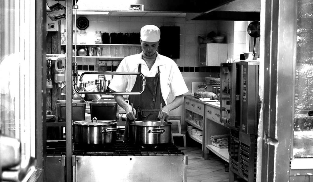 Christian Möllenhoff in the kitchen at Haa International Retreat Center
