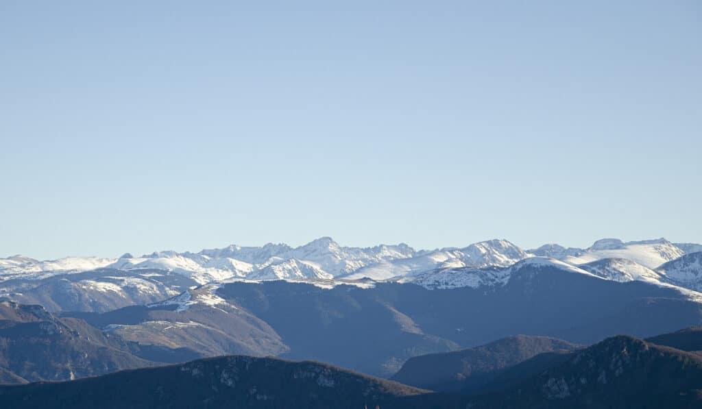 Mountain view during yoga retreat.